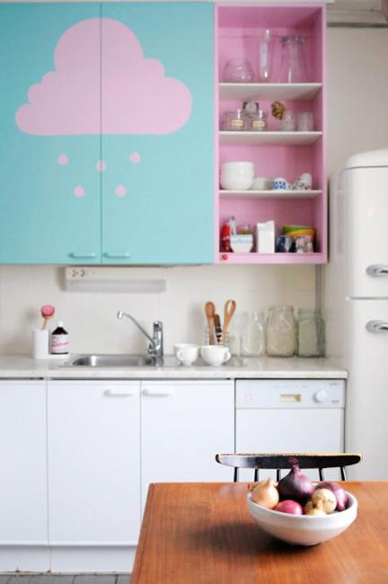 Retro Modern Kitchen Cabinets Painted Light Turquoise Blue And Pink Color Tones