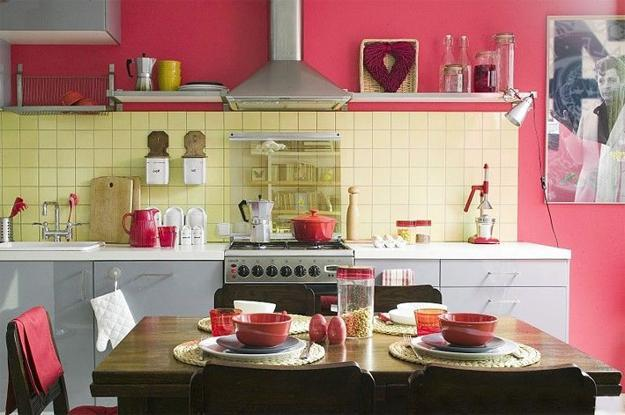 Pink Wall And Tableware For Modern Kitchen Decor In Retro Style