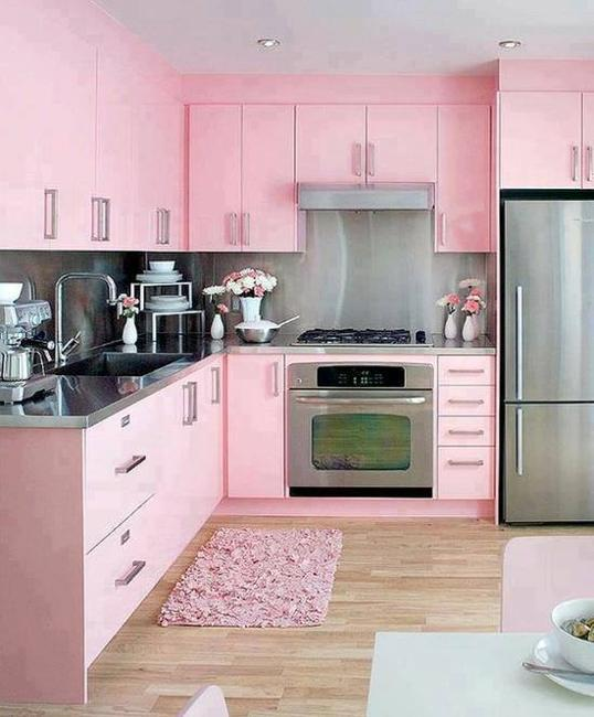 Purple Kitchen Decor Ideas: Purple And Pink Kitchen Colors Adding Retro Vibe To Modern
