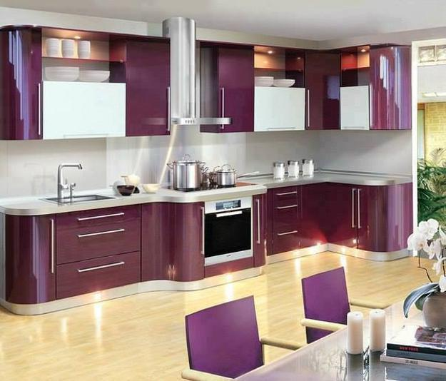 Purple Kitchen Island Wooden Ceiling Beams And White Cabinets Retro Modern Design Decor