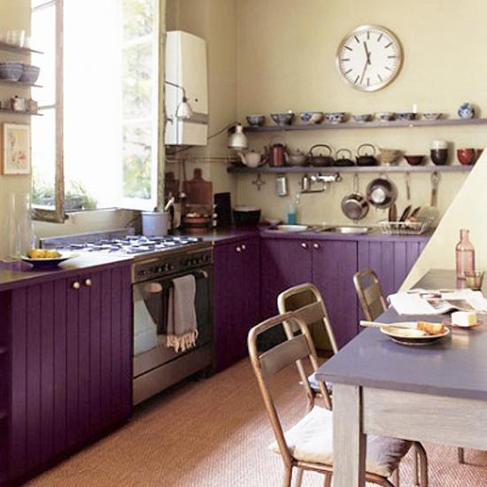 Purple And Green Kitchen Accessories: Purple And Pink Kitchen Colors Adding Retro Vibe To Modern