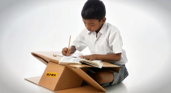 cardboard desk and backpack design idea to recycle cardboard