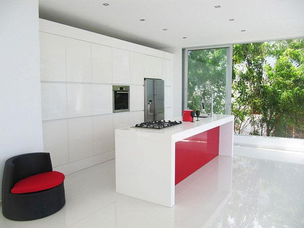 Contemporary Kitchen Design, White Kitchen Cabinets And Island Design With  Red Side