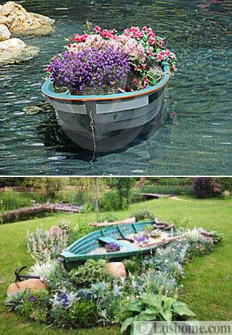 22 Landscaping Ideas to Reuse and Recycle Old Boats for ... on Backyard Garden Decor id=31024