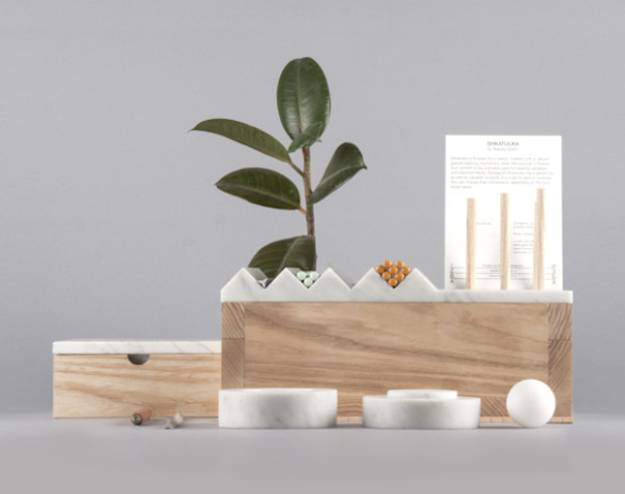 marble and wood home organizer with small spaces