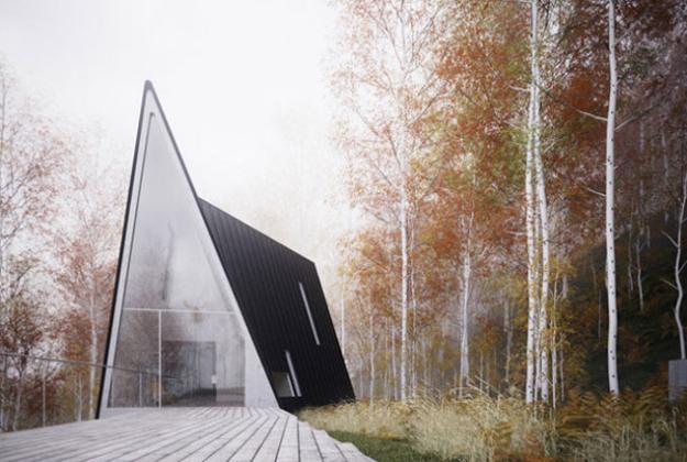 Modern House Design In Triangular Shape