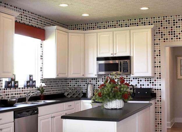 Black And White Wallpaper With Pixels Pattern Modern Kitchen Decor Ideas