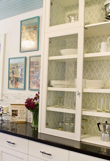 White Kitchen Cabinets And Modern Wallpaper Ideas For Decorating With Kitchen Wallpaper