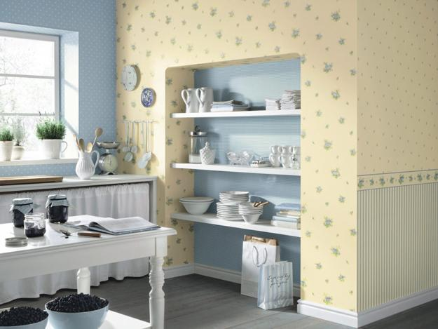 modern kitchen decorating with wallpaper