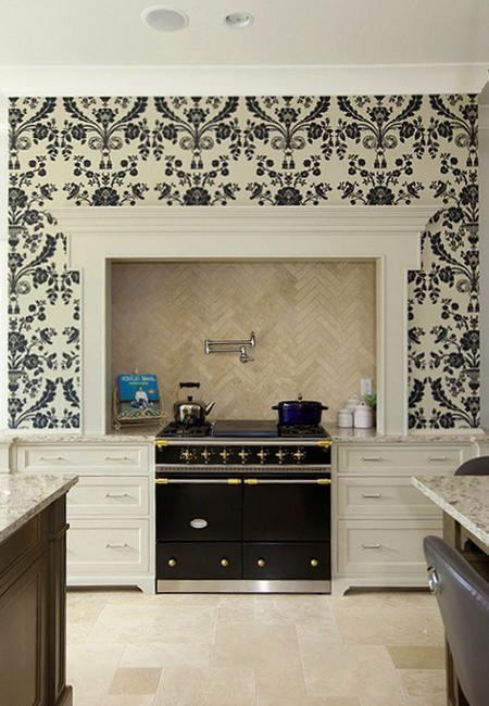 White Kitchen Cabinets and Modern Wallpaper, Ideas for ...