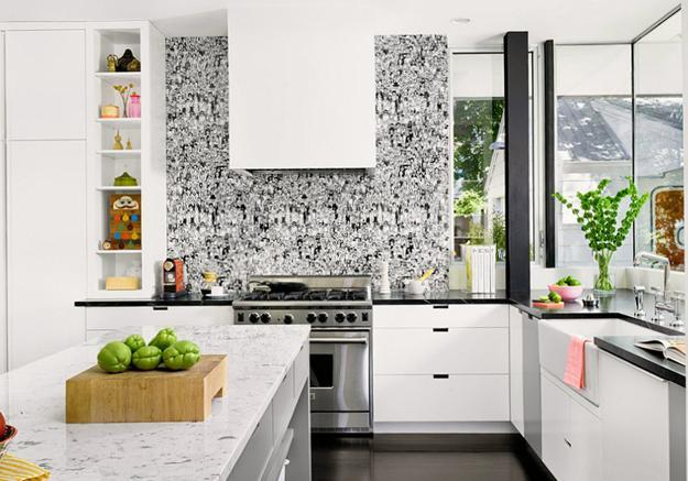 White Kitchen Cabinets And Modern Wallpaper Ideas For