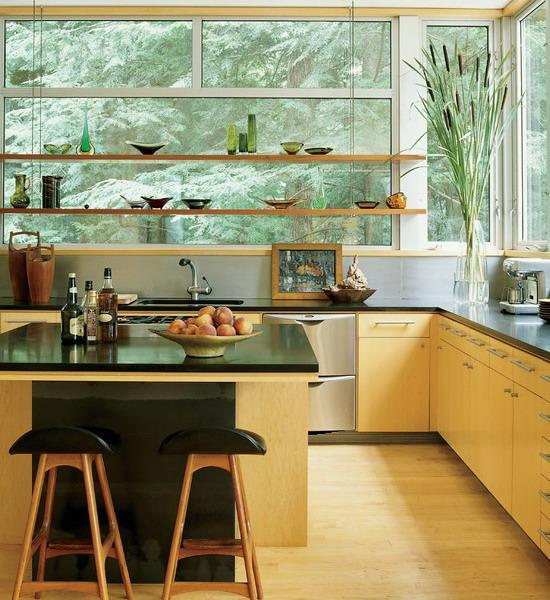 Open Kitchen Shelves And Stationary Window Decorating Ideas