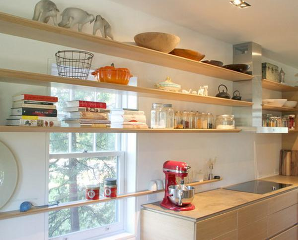 Kitchen Shelves Decorating Ideas: Open Kitchen Shelves And Stationary Window Decorating Ideas