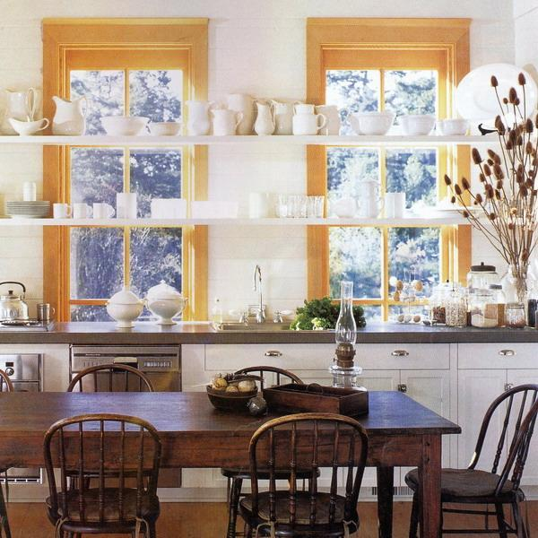 Kitchen Plant Shelf Decorating Ideas: Open Kitchen Shelves And Stationary Window Decorating Ideas
