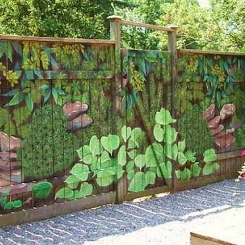 Colorful Painting Ideas for Fences Adding Bright ... on Backyard Wooden Fence Decorating Ideas id=15901