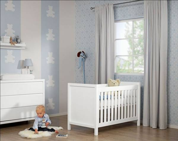White And Light Blue Wallpaper For Kids Baby Room Decor Ideas