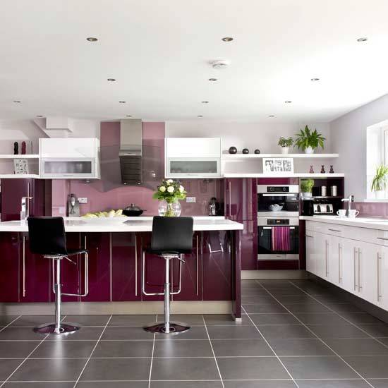Contemporary Kitchen Cabinets And Island Design In Black White Colors Bright Wall Art To Accentuate Modern