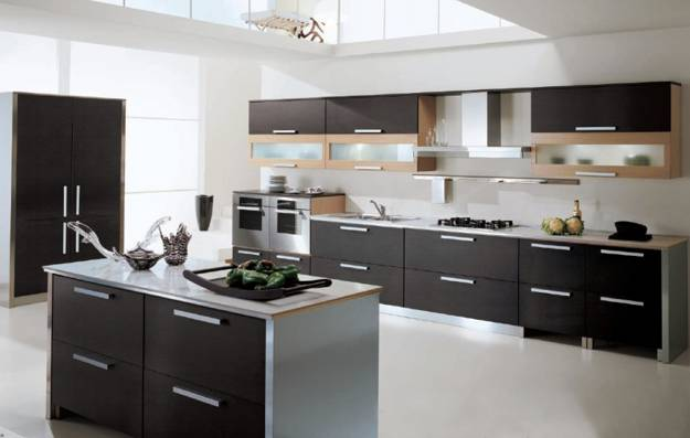 Contemporary Kitchen Design In Black And White Colors With Stainless Steel Wooden Details That Add Gray Brown To Contrasting