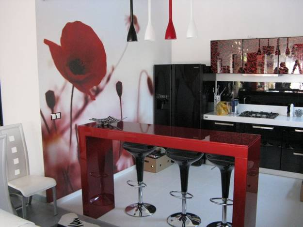 Black And White Kitchen Interior With Red Accents