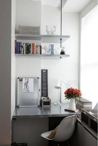 Small Home Office With Wall Shelves In The Corner