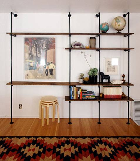 20 Diy Shelving Ideas Racks And Wall Shelves Created With Metal Pipes And Fittings