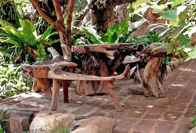 Wooden Garden Bench, Stumperies For Garden Design