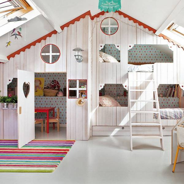 Girls Bedroom Ideas Attic Girl Room Design with Small Playhouse
