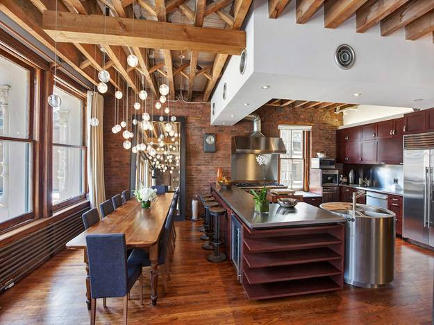 modern interior design with wooden floor ceiling designs and brick walls