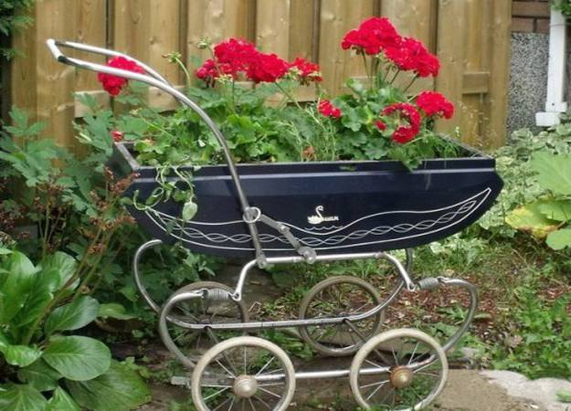 diy design ideas to reuse, recycle and upcycle baby strollers for garden decorations