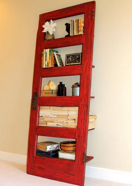 25 Ways To Reuse And Recycle Wood Doors For Shelving Units
