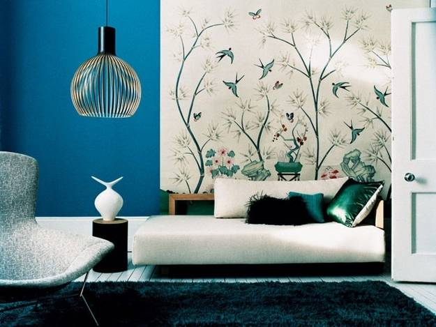 room decorating with retro wallpaper pattern and color combination