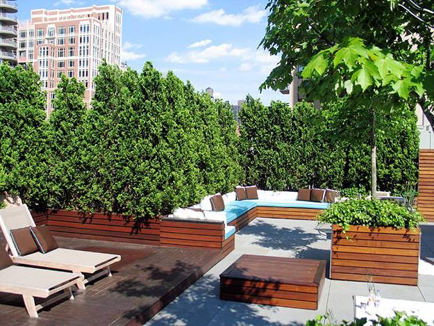 Roof Top Garden Design And Large Patio With Seating Areas