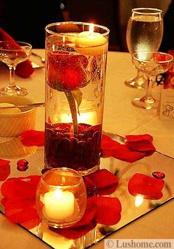 Red Roses And Candles Centerpiece Idea