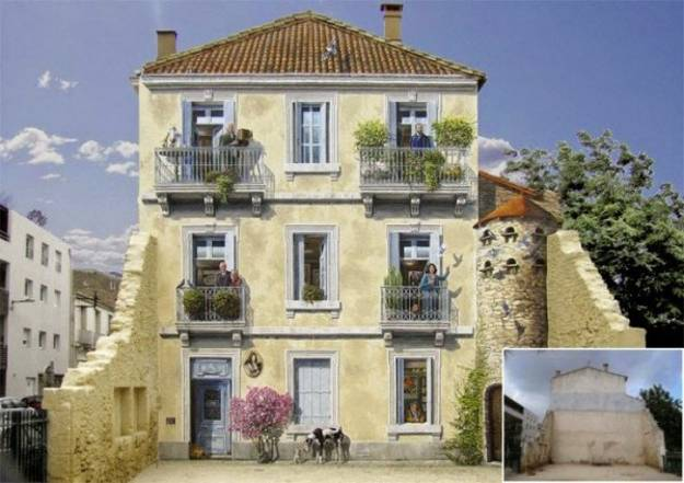 wall mural art for decorating house exterior and building facades