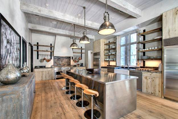 Superbe Country Kitchen Design Ideas And Decorating With Rustic Wood And Metal  Chandelier