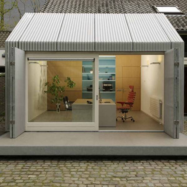 garage redesign for small office with sliding glass doors