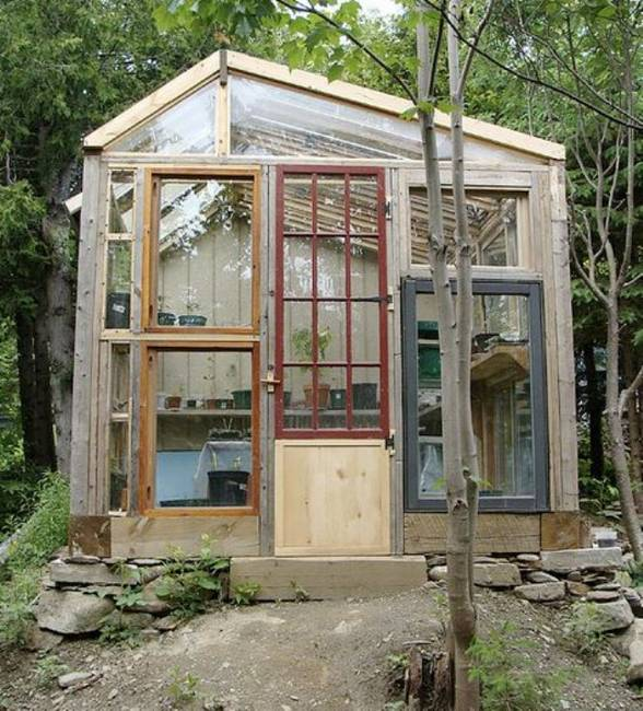 salvaged wood windows and glass recycling ideas for garden houses