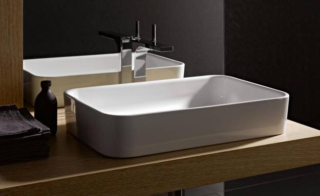 Genial Porcelain Bathroom Sink In Rectangular Shape