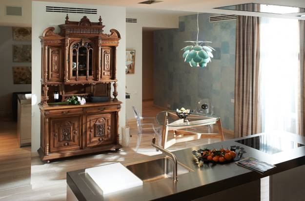 Modern Kitchen Design With Vintage Furniture And Contemporary Lighting