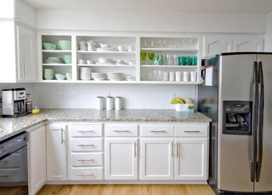 white kitchen cabinets and shelves for storage