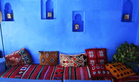 Blue Paint And Warm Moroccan Decor Accessories Decorative Pillows Textiles In Style