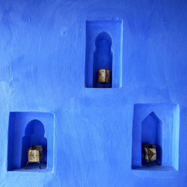Blue Wall Niches With Candle Lights In Moroccan Style