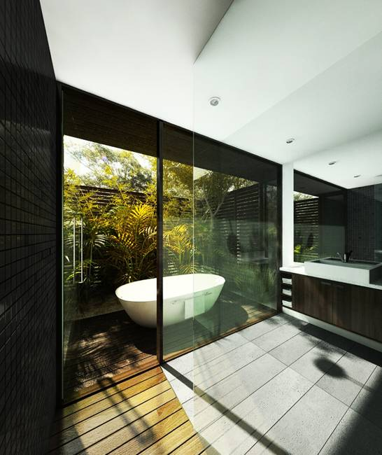 Outdoor Bathrooms Ideas: Glass Wall Ideas For Exquisite And Spectacular Bathroom Design