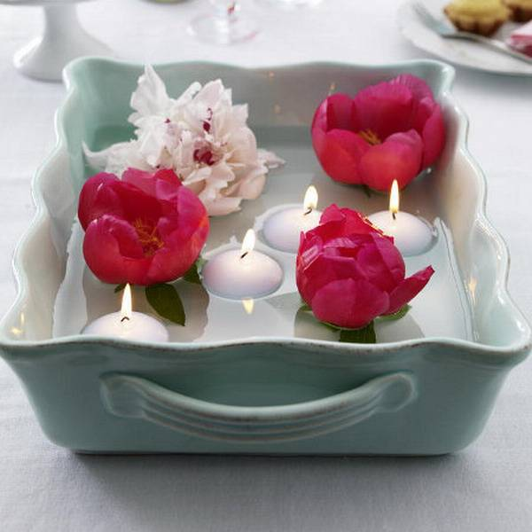 Flowers With Floating Candle Centerpieces: 15 Floral Candles Centerpieces With Peony Flowers