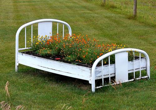 Recycling Old Wood Beds for Yard Landscaping and Decorating with Flowers