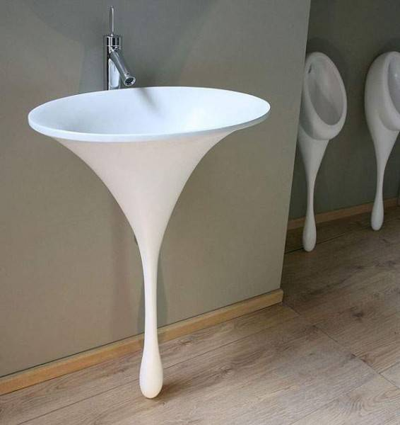 Contemporary Bathroom Vanity With Vessel Sink In Round Shape
