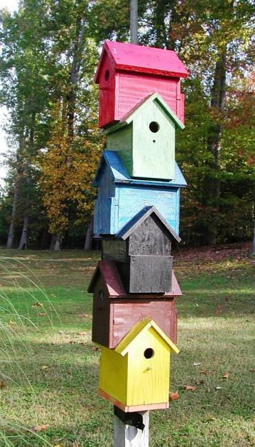handmade wooden bird house design ideas, yard decorations recycling wood