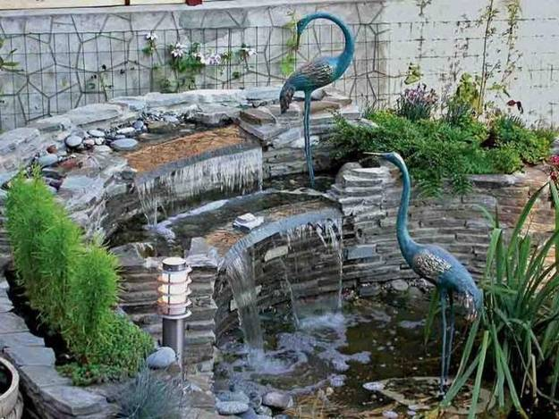 Landscaping Ideas Backyard Waterfall With Birds Decorations