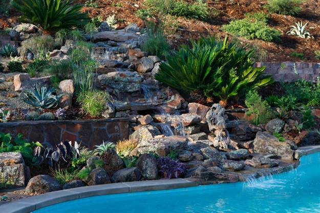 20 Spectacular Backyard Ideas, Waterfalls that Top Off ... on Backyard Hill Landscaping Ideas id=64521