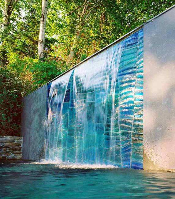 20 spectacular backyard ideas waterfalls that top off for Yard waterfalls